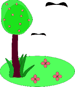 tree, flower, flowers, cartoon, spring, birds, grass