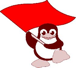 tux, flag, linux, penguin, red, waving