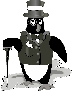 tux, penguin, black, hat, footprints, wearing