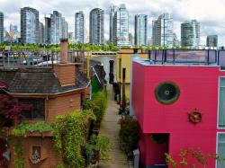 vancouver, city, skyscraper, houseboat, colorful