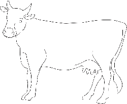 view, simple, outline, farm, cow, side, art, animal
