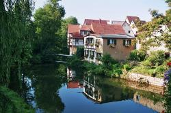 waiblingen, city, city wall, home, water, river