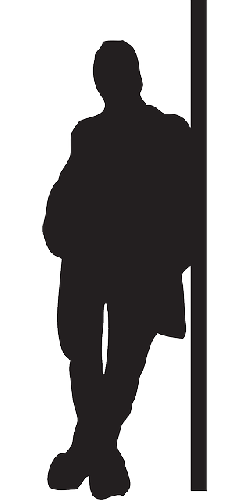 wall, man, silhouette, male, leaning, standing