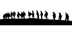 war, silhouette, weapons, military, walking, army