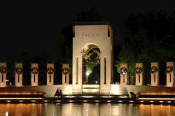 washington dc, world war ii memorial, night, evening