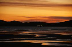 water, bowen, new zealand, ebb, sunset, reflection