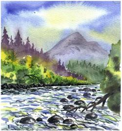 watercolour, painting, landscape, bach, water, trees