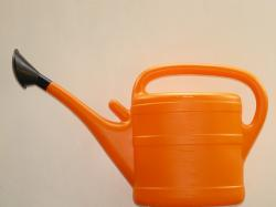 watering can, pour, orange, plastic, water