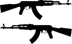 weapon, gun, arms, automatic, assault, silhouette