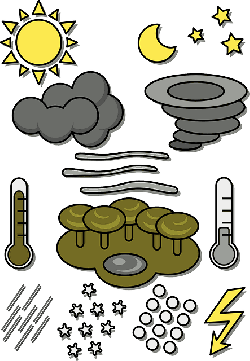 weather, symbols, temperature, rain, snow, lightning