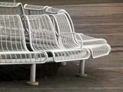 white, metal, bench, resting, rest area, resting place