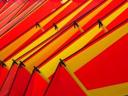 wind surfing, sail, colorful, red, yellow