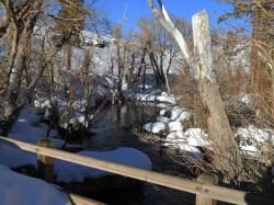 winter, snow, river, landscape, nature, california