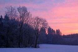 wintry, afterglow, evening sky, winter