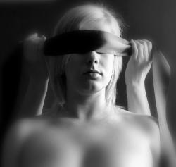 woman, blind, light, erotica, sadomasochism, blonde