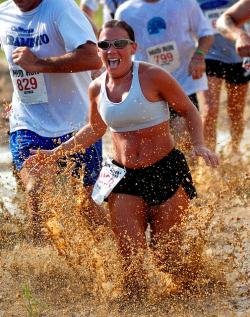 woman, men, women, running, outside, mud, splashing