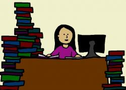 woman, student, college, school, library, study