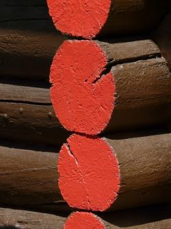 wood, wooden beams, paint, paintwork, color, red, brown