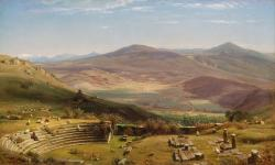 worthington whittredge, mountains, ruins, rocks, sheep