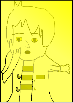 yellow, boy, kid, person, highlight, draw, trace