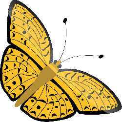 yellow, flower, flowers, cartoon, purple, butterfly